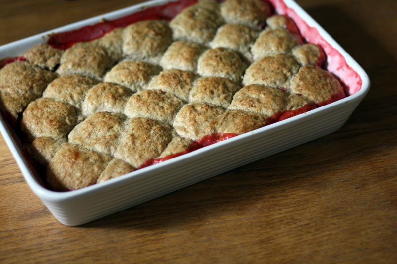 Strawberry Rhubarb Cobbler with Whole Wheat